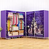 Portable Triple Wardrobe Closet Large Folding Armoire Storage Bedroom Furniture Fully-enclosed Clothes Organizer