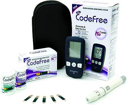 SD Codefree Glucometro Lector Medidor de niveles de glucosa y azucar en Sangre Kit de control de la Diabetes y la Glucemia en mg/dL - Incluye 10 tiras y estuche: Amazon.es: Salud