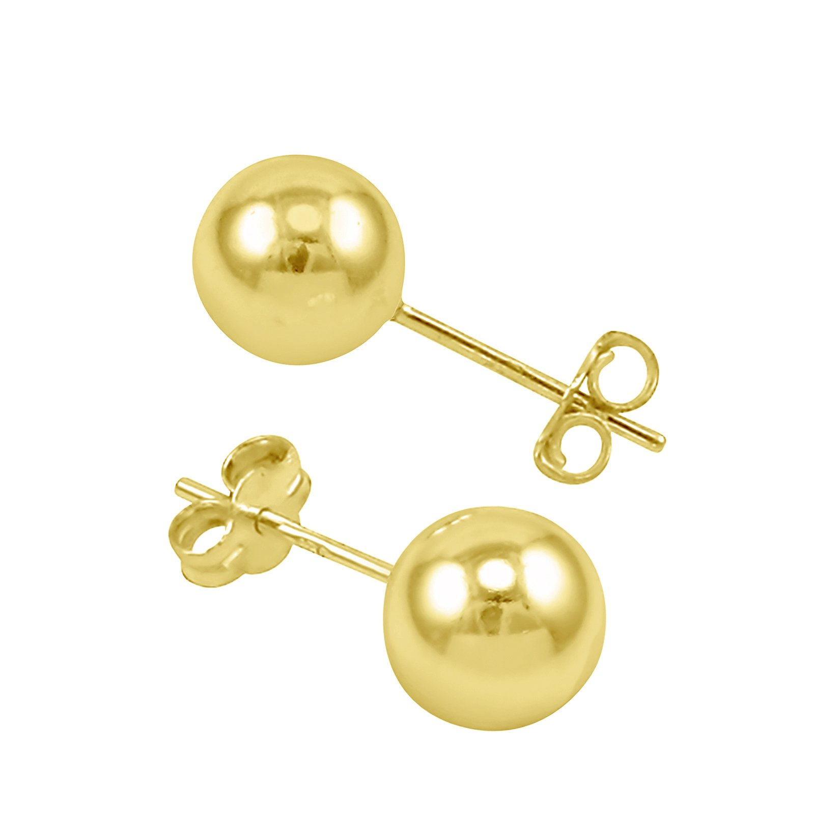 14k High Polished Yellow Gold Ball Stud Earrings With Butterfly & Free Box - 8mm