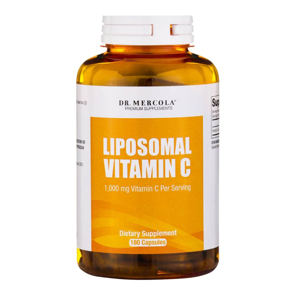 Dr. Mercola Liposomal Vitamin C 1,000mg per Serving - 180 Capsules - 90 Servings - Antioxidant Supplement with Higher Bioavailability Potential & Immune System Support