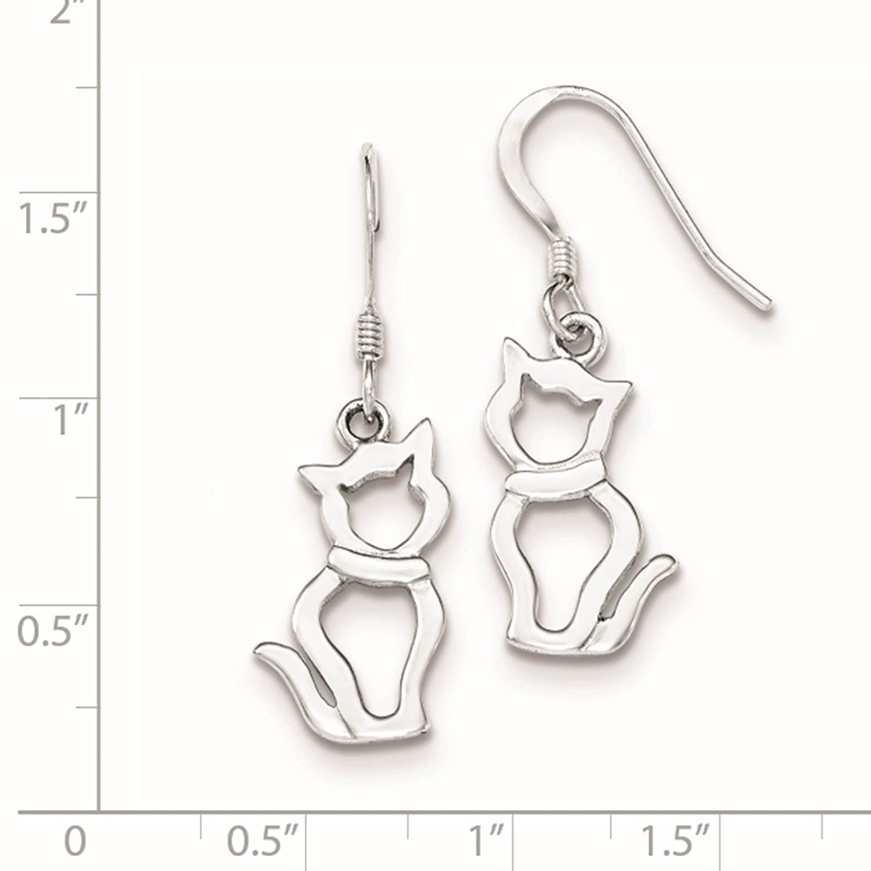 925 Sterling Silver Polished Cat Dangle Earrings