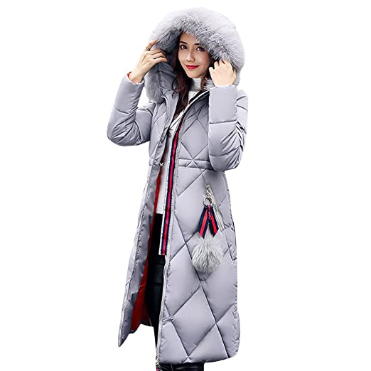 0fbc9afea Gamery Women Winter Long Parkas Coat Jackets with Faux Fur Hood Plus Size