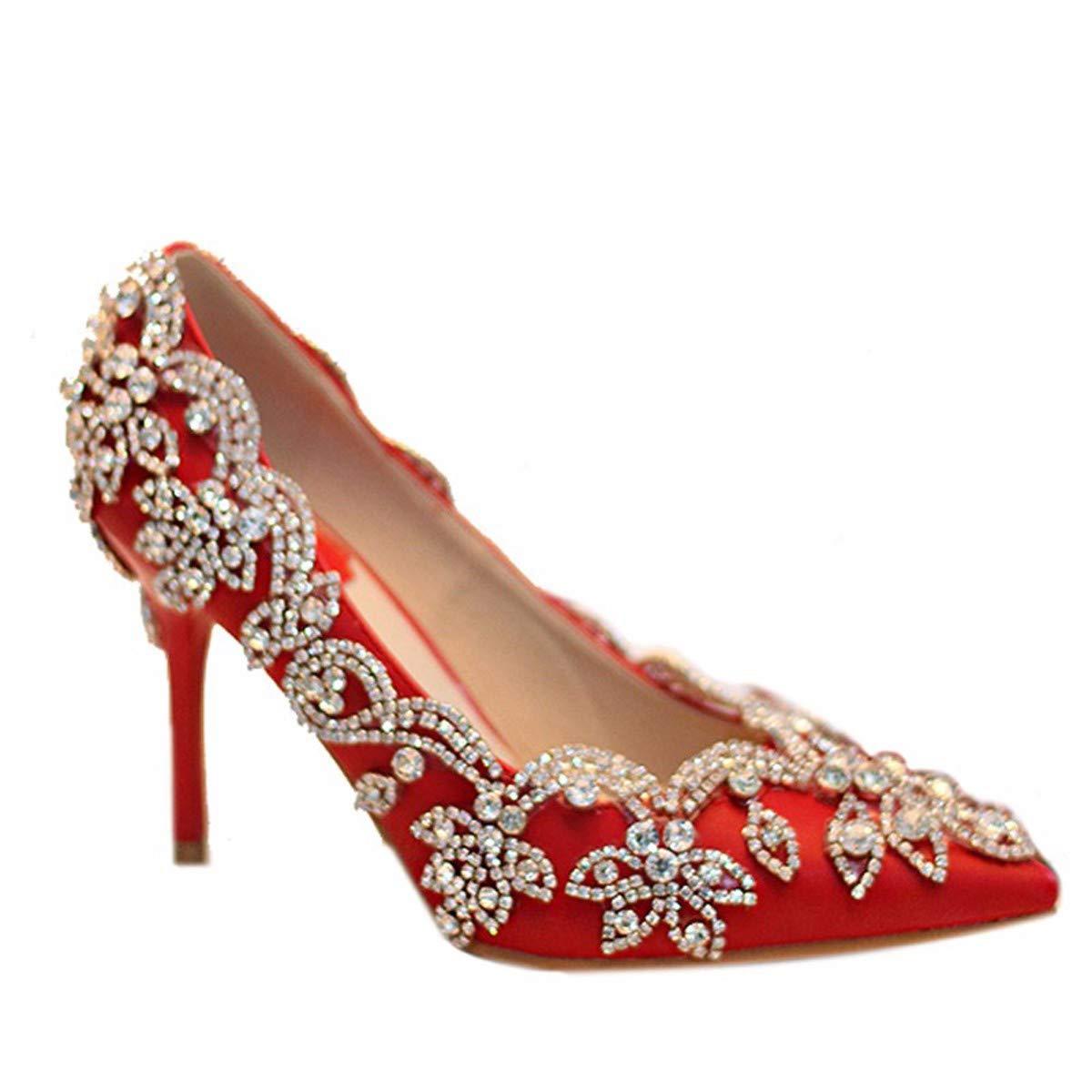 GTVERNH Damenschuhe Rote Braut Schuhe High - Heel Hochzeit Hochzeit Hochzeit Schuhe Dünne Sohle Diamantbohrer Wies Kopf 9Cm Kristall - Schuhe Mode. 99c9cc