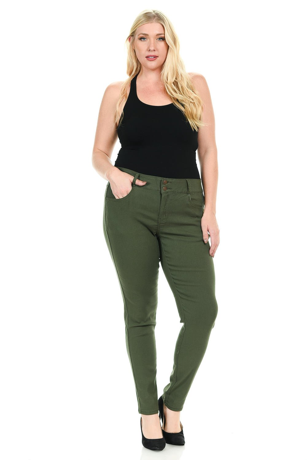 926 Women's Jeans - Plus Size - High Waist - Push Up - Style W1506 - Olive - Size 16