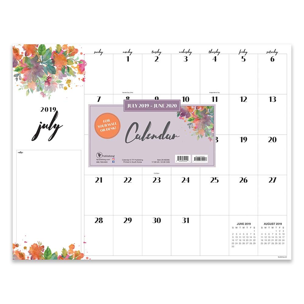 Watercolor Flowers with Script Large Desk Pad Monthly 2020