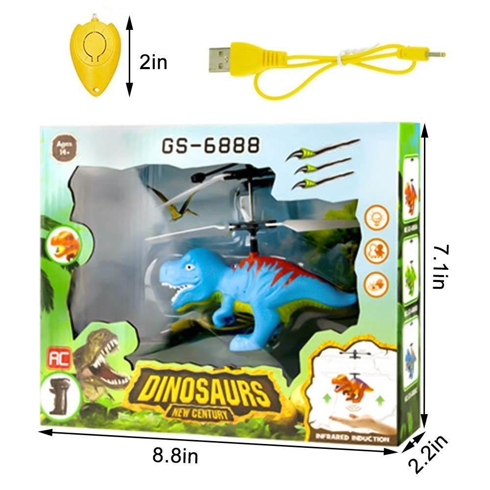 Funburg Flying Ball Dinosaur Toys,RC Drone LED Colorful Light Up Helicopter with Remote,Indoor Outdoor for 6 Year Old Kid,Infrared Induction Flying Toys Dinosaur Birthday Gifts for Boys Girls Kids by Funburg (Image #9)