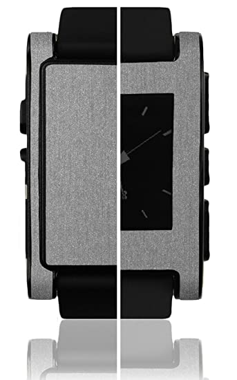 Skinomi Pebble E-Paper Smartwatch Screen Protector + Brushed Aluminum Full Body, TechSkin Brushed Aluminum Skin for Pebble E-Paper Smartwatch with ...