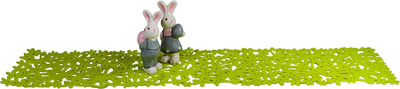 khevga Runner in Feltro Verde con Motivo Floreale 30 x 116