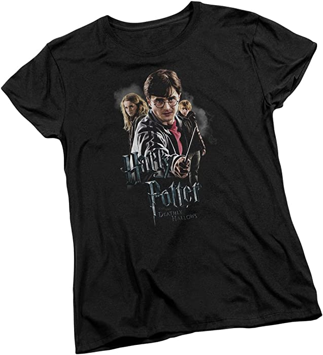 5f65bb01b0a6 Amazon.com  Deathly Hallows Trio -- Harry Potter Women s T-Shirt ...