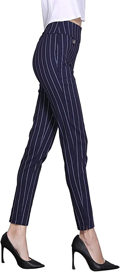 Shapetune Women S Stretch Comfy Skinny Ankle Pants Navy White Stripe At Amazon Women S Clothing Store
