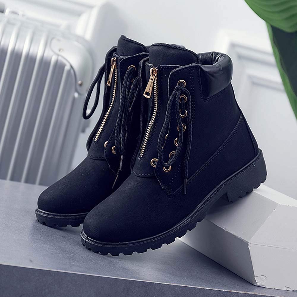 b78597fc951d6 Amazon.com: Ankle Booties For Women Low Heel Liraly Solid Lace Up ...