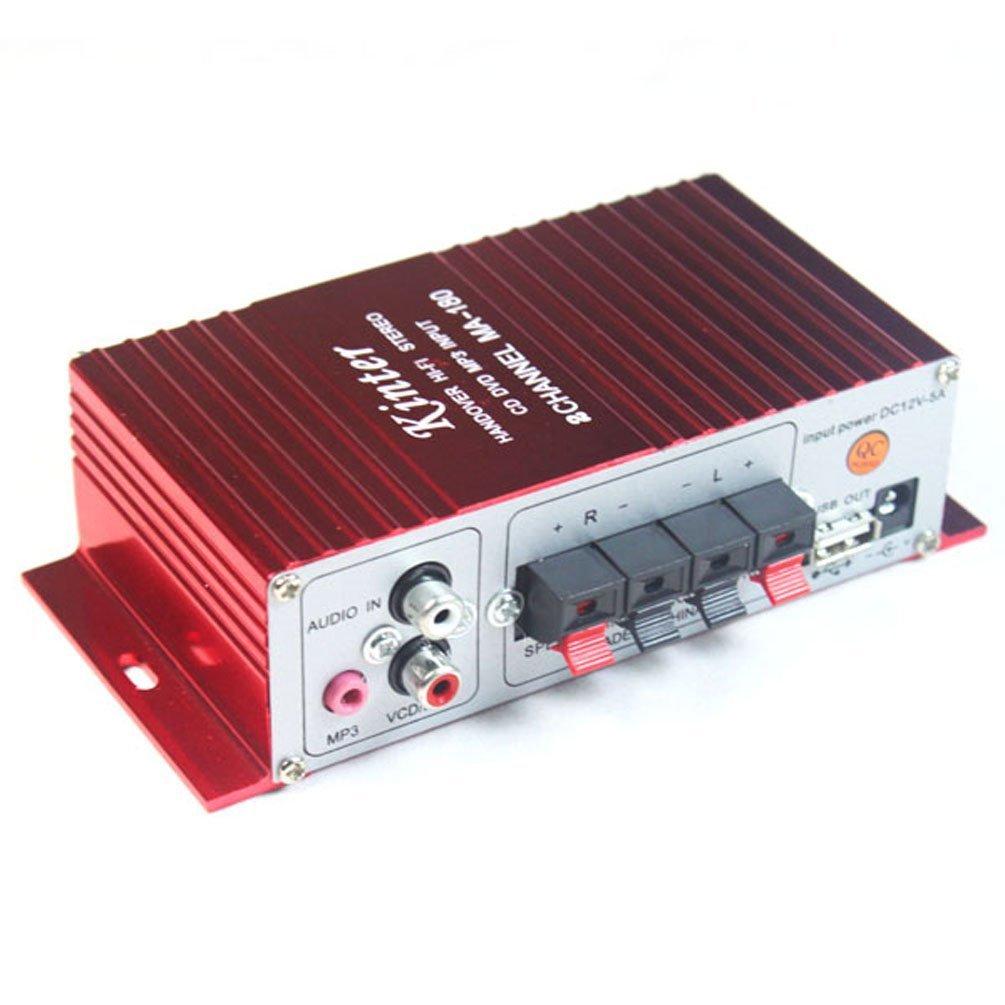 Kinter MA-180 - Amplificador híbrido (100 dB, 20 W, USB), color rojo: Amazon.es: Coche y moto