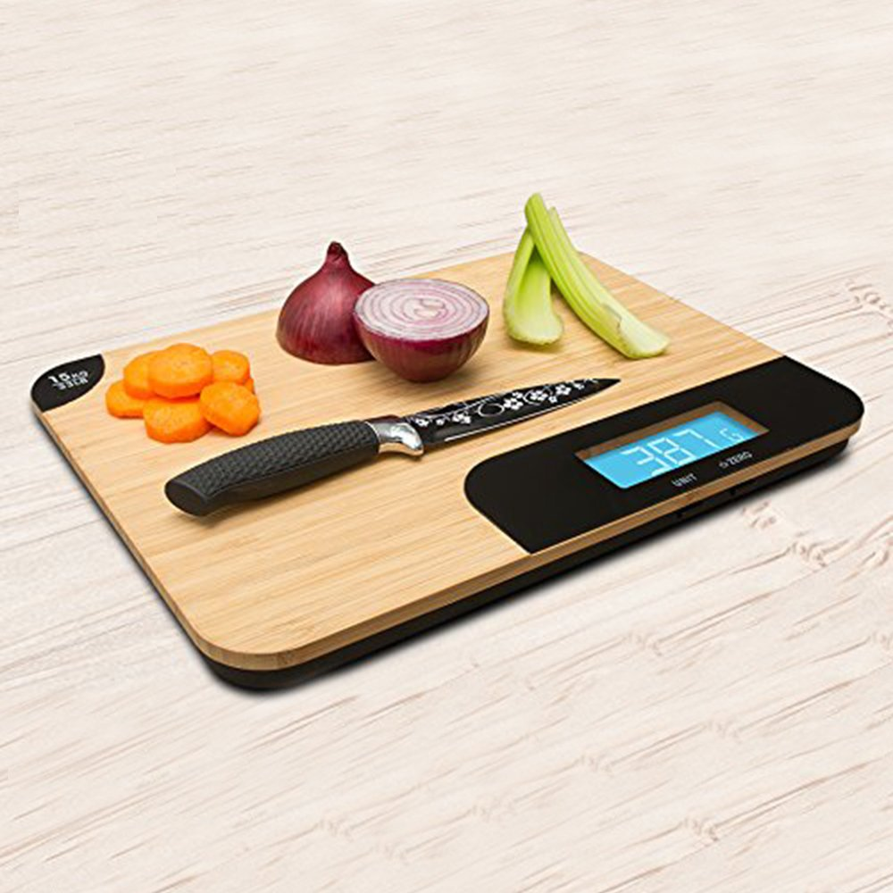 Aquarius Bamboo Chopping Board with Integrated Digital Weighing Scale and Extra Large Wooden Cutting Surface for Home and Kitchen - Weigh and measure foods up to 15kg