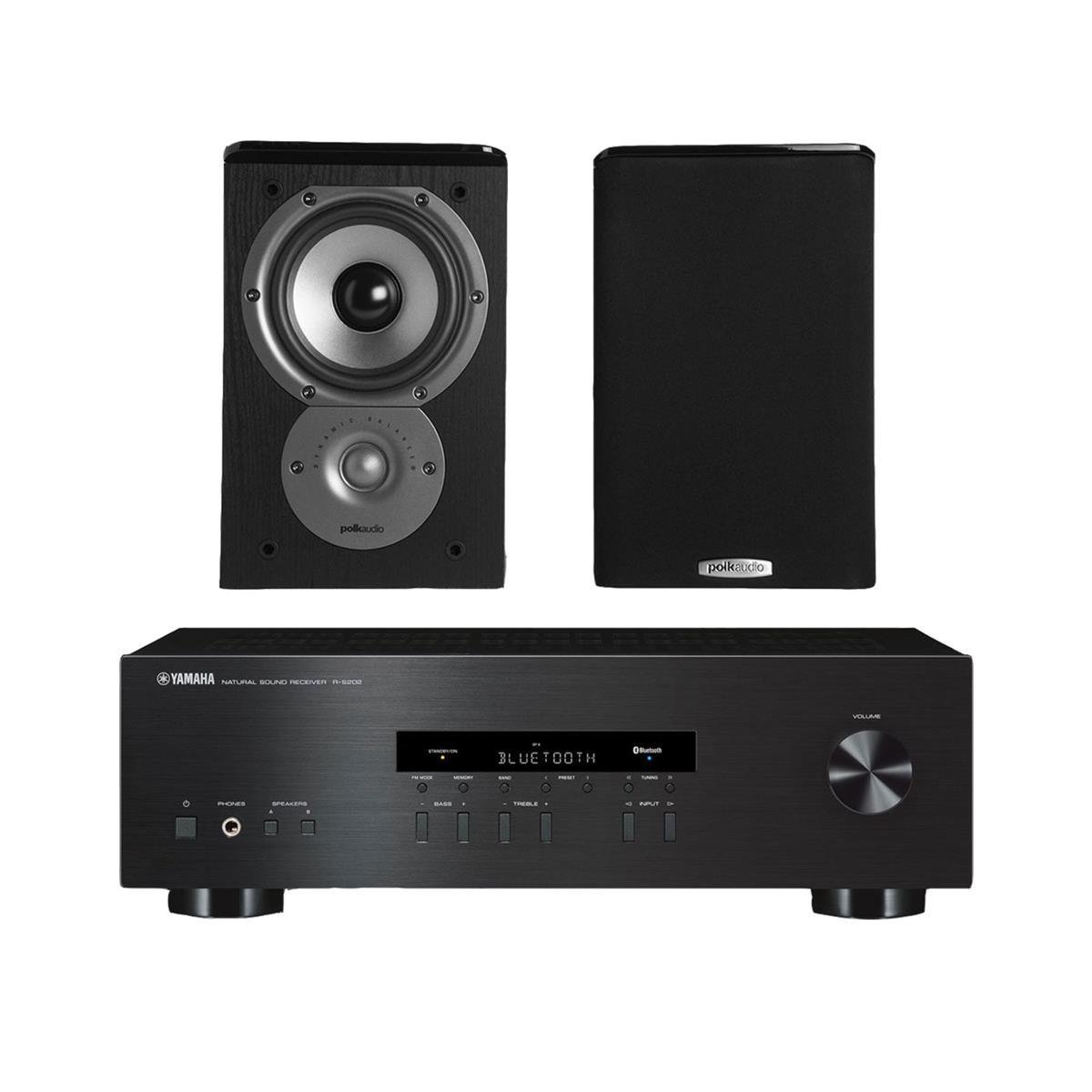 "Yamaha R-S202 Stereo Receiver Bundle with Polk TSi100 2-Way Bookshelf Speakers with 5-1/4"" Driver - (Pair) Black"