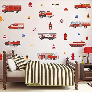 TOARTi Fire Trucks Wall Decals,Transportation Wall Stickers, Fireman Theme Wall Sticker Fire Engine Truck Wall Art Firefighter Vinyl Sticker for Boys Bedroom Playroom Decor