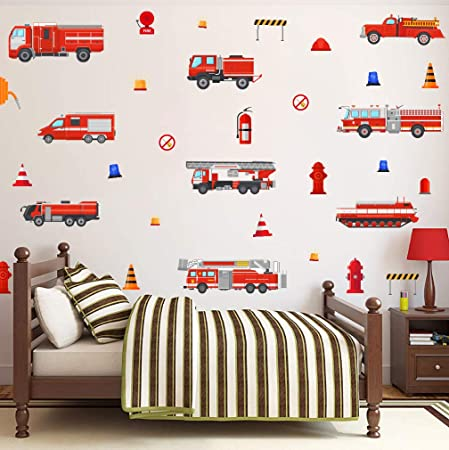 Amazon Com Toarti Fire Trucks Wall Decals Transportation Wall Stickers Fireman Theme Wall Sticker Fire Engine Truck Wall Art Firefighter Vinyl Sticker For Boys Bedroom Playroom Decor Arts Crafts Sewing