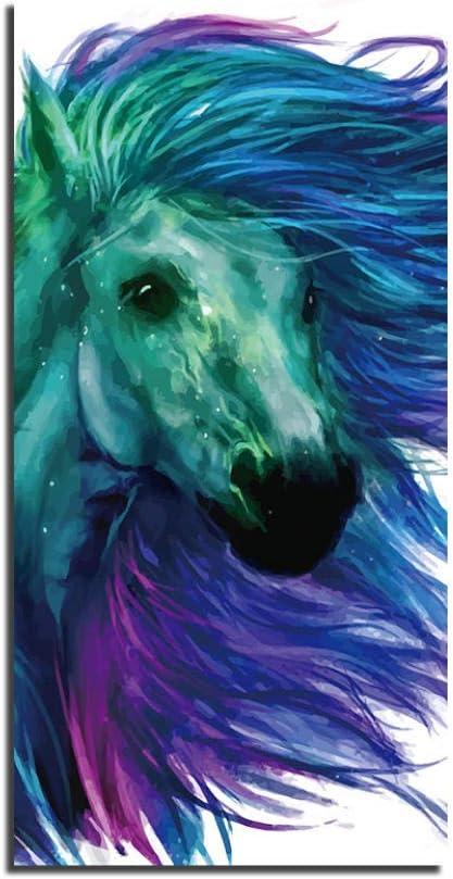 FGDH&SDF Art on Canvas Print Cuadro en Lienzo Cuadros Arte de la Pared Caballo magnífico, Arriba, Poste de Pintura Decoración Modular para el hogar Sala de Estar, con Marco, 70X140Cm