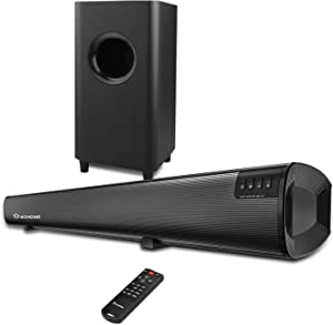 Sound Bar Wohome 2.1 Channel Bluetooth Soundbar for TV with Subwoofer Home Theater System 34-inch Soundbar 5.5-inch Subwoofer 4 Speakers 120W 95dB Remote Control 2020 Model S18