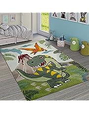 Dywan Dzieciêcy Zielony Dinozaury D¿ungla Wulkan Efekt 3D Z Krótkim W³osiem, Rozmiar:120x170 cm