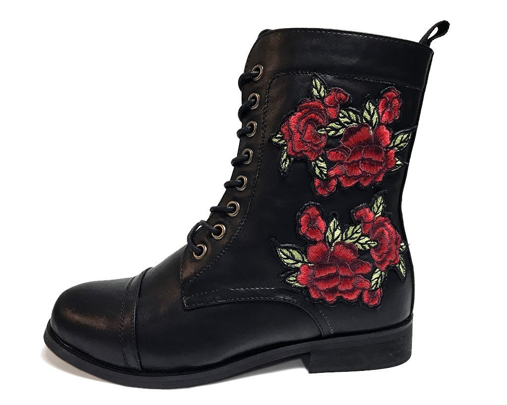 T.U.K. Rewind Womens Black Rose Embroidered Combat Boot, Size 10 D(W)