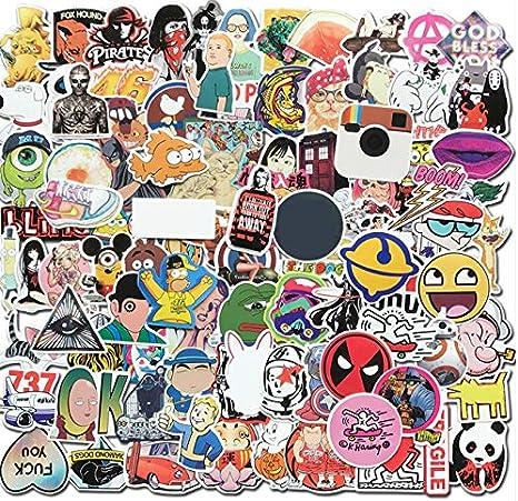 50 Unids Impermeable Divertido Pegatinas de Dibujos Animados Para DIY Skateboard Estuche de Viaje Ordenador Portátil Motocicleta TV Coche Guitar Kid Juguete Pegatina Bomba: Amazon.es: Bebé