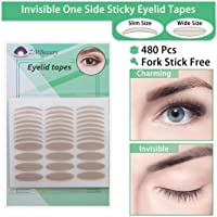 480Pcs Self-adhesive Single-sided Eyelid Tapes Double Eyelid Stickers Big Eye Tools, Eyelid Lift Strips for Hooded Droopy Uneven Mono-eyelids, Skin Color
