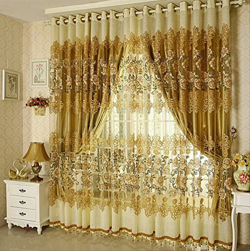 Luxury Curtains and Tulle For Living Room Beaded Sheer Curtains and Blackout Curtains for Window Treatment 4panels/set Including 2 Curtains and 2 Tulles (59'' W x 98'' L, Golden)