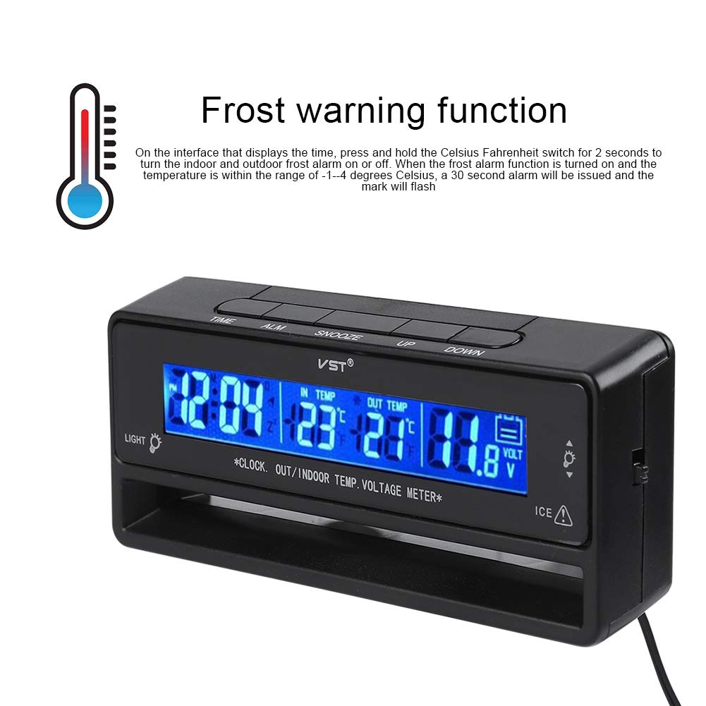 -50 /°C ~ 70 /°C LED Backlight Frost Warning Digital Temperature Display Meter Indoor Outdoor Thermometer for Car Automotive Electronic Thermometer