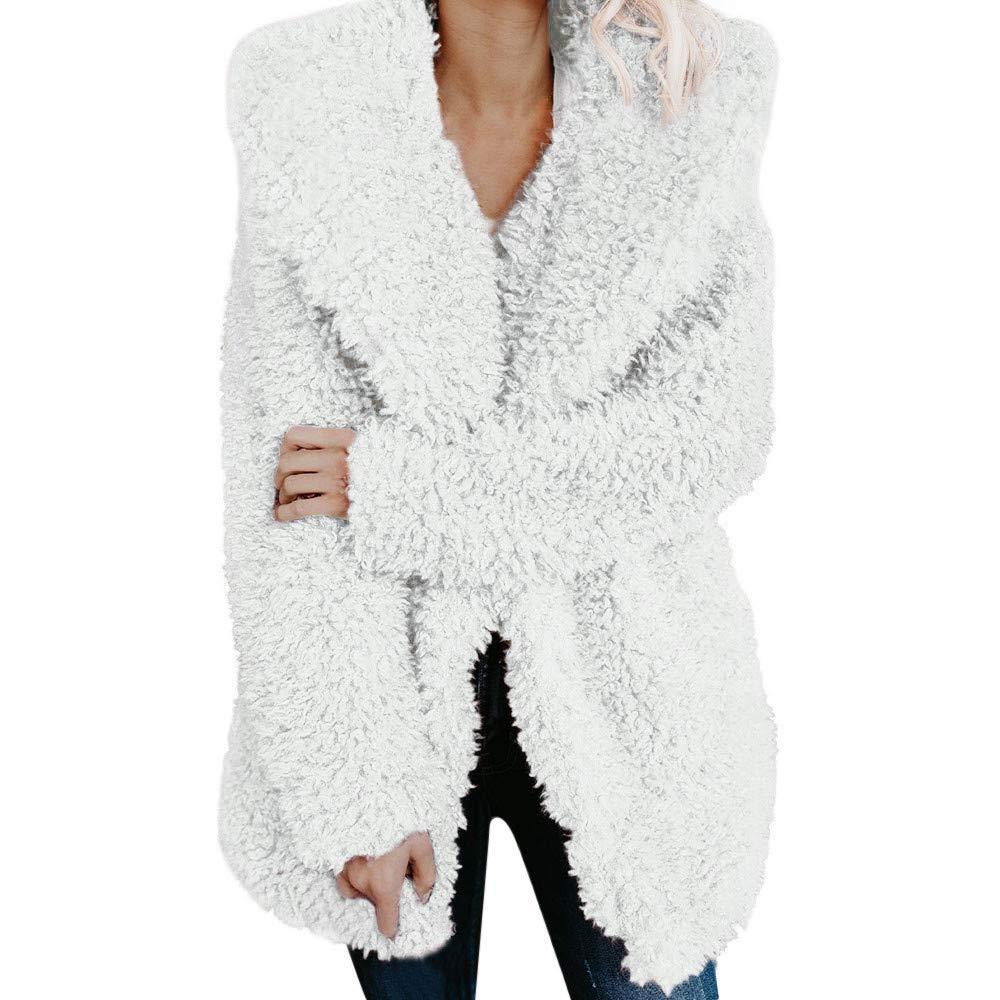 St.Dona Womens Ladies Winter Autumn Warm Artificial Wool Fashion Loose Coat Jacket Lapel Outerwear