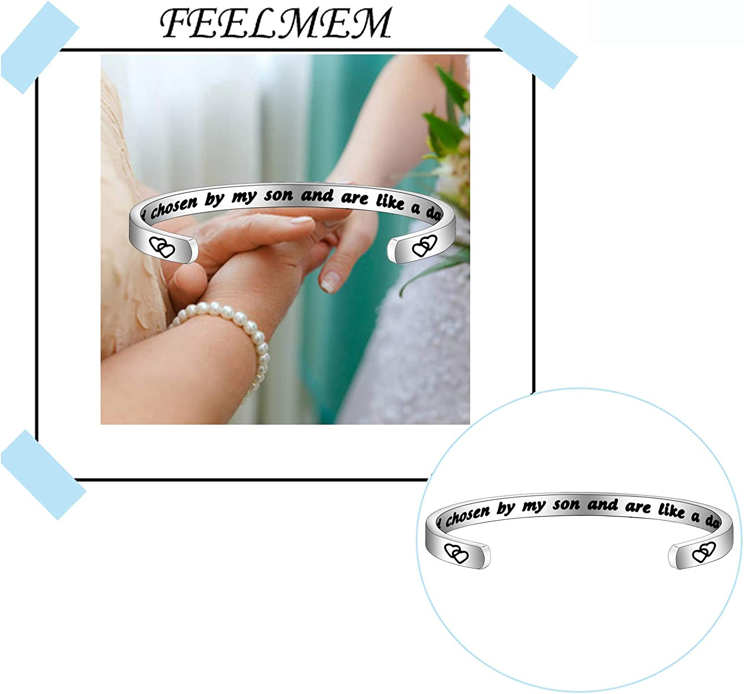 FEELMEM Daughter-in-Law Bracelet You Were Hand Chosen By My Son And Are Like A Daughter To Me Bangle Bracelet Gift for Daughter In Law /…
