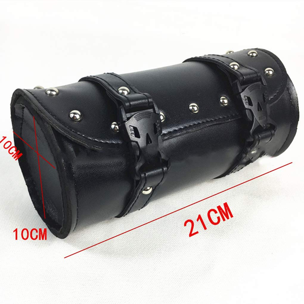 Demino Motorcycle Fork Bag Handlebar Leather Tool Pouch Roll Barrel Tool Pouch,Roll Barrel Bags for Yamaha Honda Kawasaki