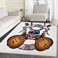 Guitar Print Area rug Crossed Electric Guitars with Skull American Flag Live Free Or Die Biker Culture Indoor/Outdoor Area Rug 5x6 Multicolor