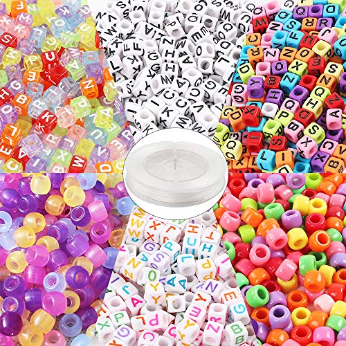 (Quefe 1500 Pcs Assorted Acrylic Plastic Beads Containing 4 Types Letter Beads, 1 Set Large Hole Beads, 1 Set UV Beads with 50 Meters of Flat Round Thread for Making Jewelry, Bracelets, etc.)