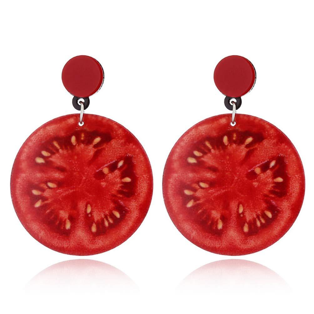 Eightgo Funny Earrings Acrylic Earrings for Women Kiwi Sunflower Strawberry Tomato Cherry Lemon Watermelon Peach Fruit Earrings(Tomato)