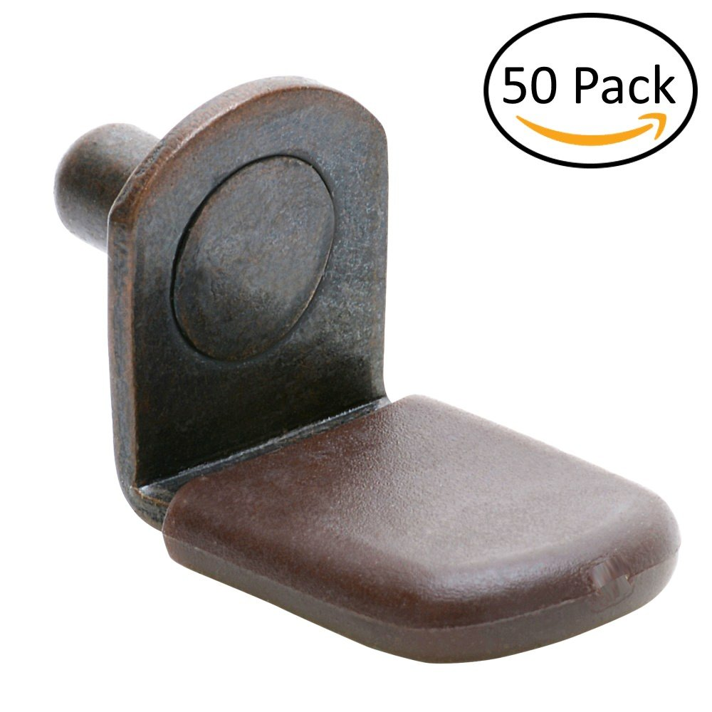 5mm Glass Shelf Support Pegs w/Brown Vinyl Sleeve - Bracket Style - Antique Bronze - Package of 50