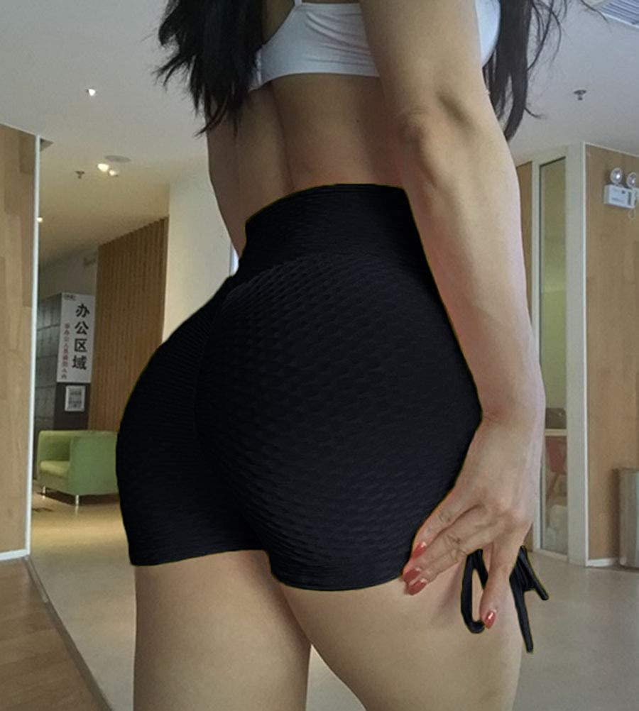 Onsoyours Women's Sports Shorts Jogging Workout Running Hot Pants Yoga Gym Stretch Elasticated Waist Summer Runner Shorts C Black