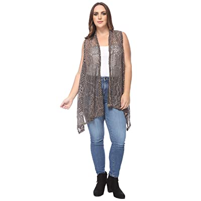 Anna-Kaci Women's Plus Size Boho Open Front Crochet Cover Up Sleeveless Shawl Cardigan Vest at Women's Clothing store