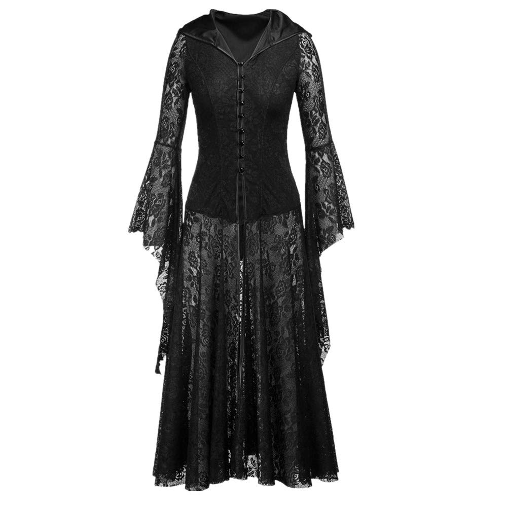 xiaoxiaoland Halloween Party V-Neck lace Long-Sleeved Zipper Ball Gown Scary Evil Ruffled Women's Dress Black,M by xiaoxiaoland