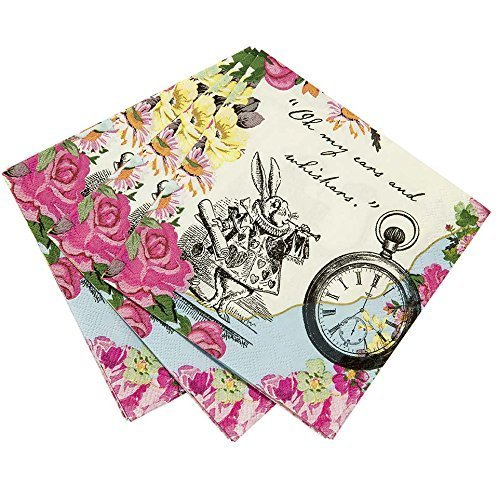 Kids Birthday Party Supplies & Decorations Paper Napkins Alice in Wonderland 40 pack 5 inch