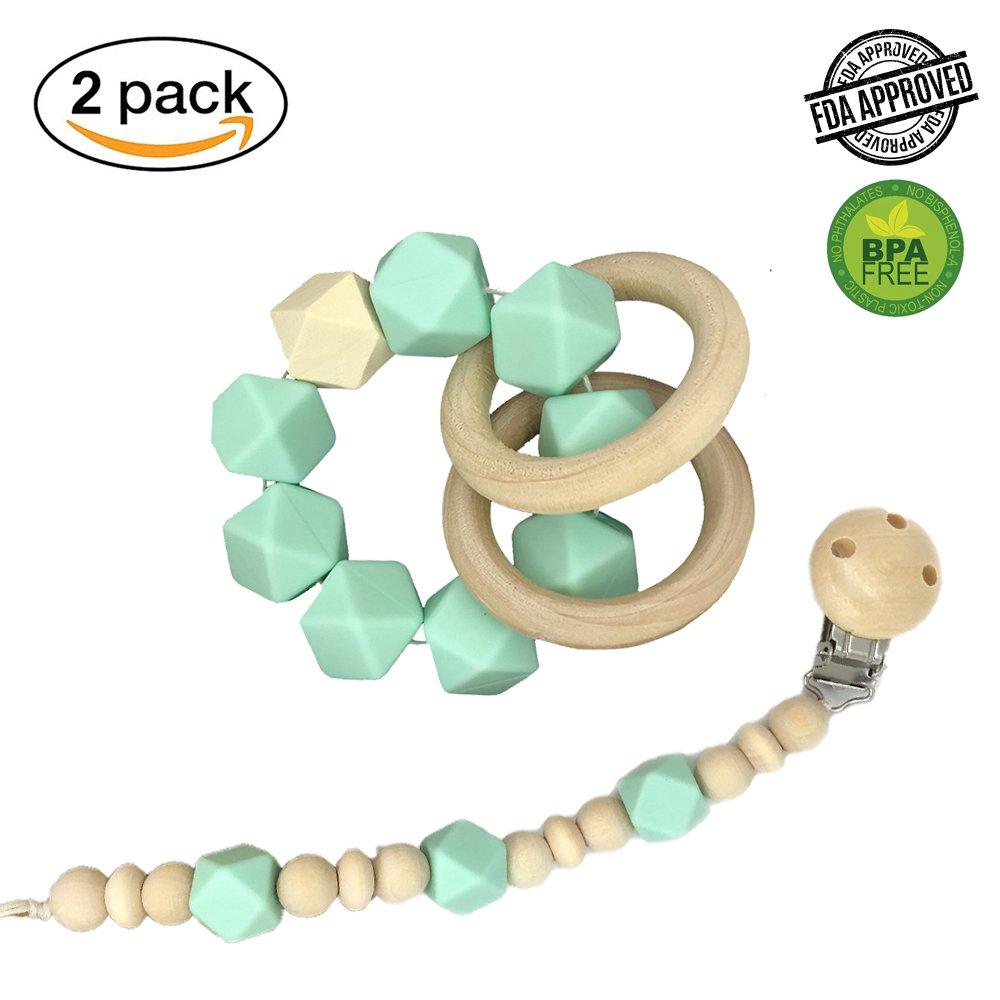 INCHANT Baby Teether Gift Set - Chewable Beads Silicone & Wooden Soother Pacifier Clip + Sensory Teether Bracelet, The Best Gift for Newborn Baby for Gum Massage, Mint Green Ecreate