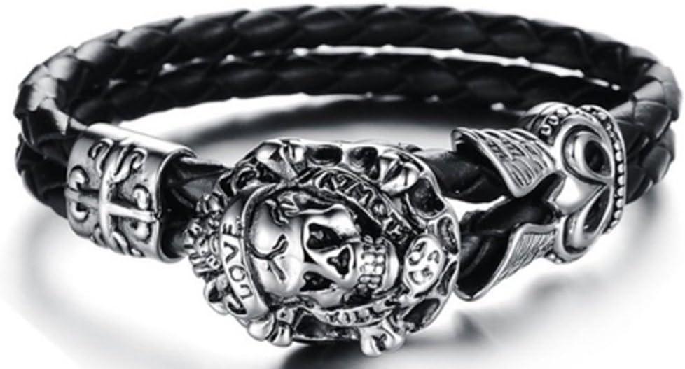 SaySure Jewelry Punk Skull Bracelets Stainless Steel Black