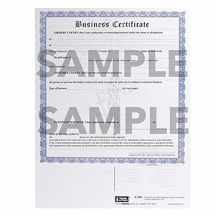 Amazon.com : New York Business Certificate (DBA) Form X201 (8.5 X 11 ...