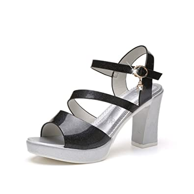 0f4798f0a93e Women s Casual High Heel Sandal Open Toe Thick Bottom Dress Shoes Ankle  Strap Wedge Platforms Black