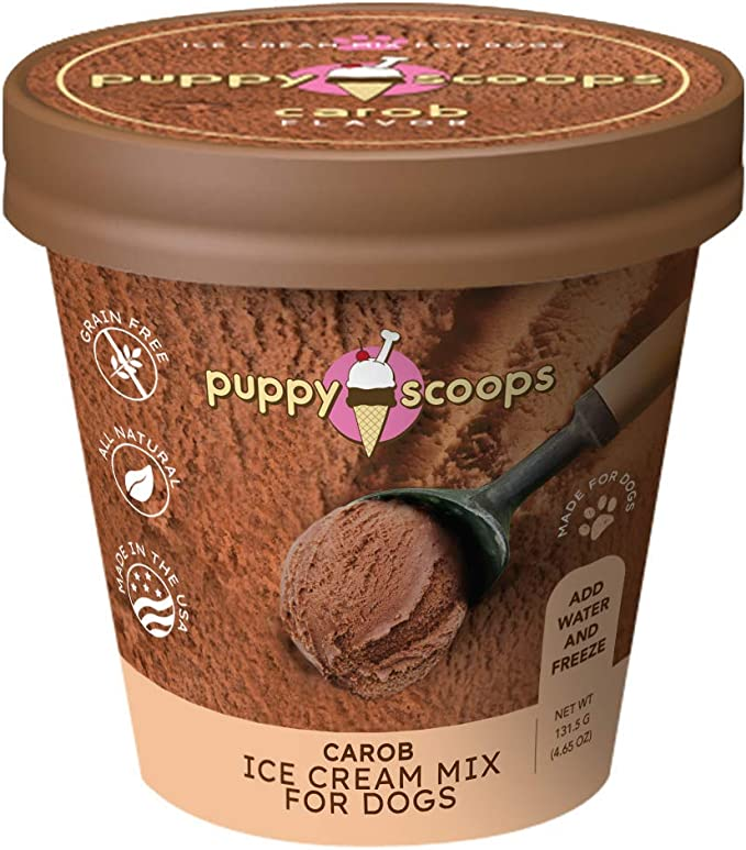 Amazon Com Puppy Scoops Ice Cream Mix For Dogs Carob Natural Dog Safe Chocolate Flavor Add Water And Freeze At Home Kitchen Dining