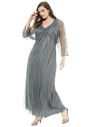 Roamans Pisarro Nights Womens Plus Size Beaded Dress By Pisarro
