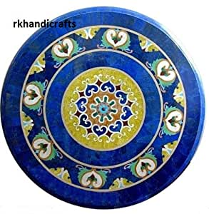 "24"" Blue Marble Round Shape Pietra Dura Inlay Art Floral Design Side Table Top"