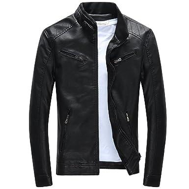 BiSHE Herren Lederjacke Mens PU Leder Jacken Slim Smart Fit Fleece Harrington Jacke Mantel
