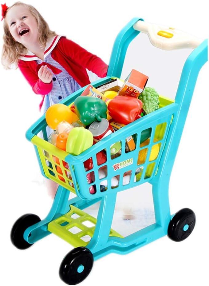ショッピングカート 光と音楽と子供の大規模なシミュレーションスーパーマーケットのショッピングカートの設定キッチンの果物や野菜のおもちゃ 女の子 男の子 買い物 知育玩具 (色 : 青, Size : 43.5x30x50CM)