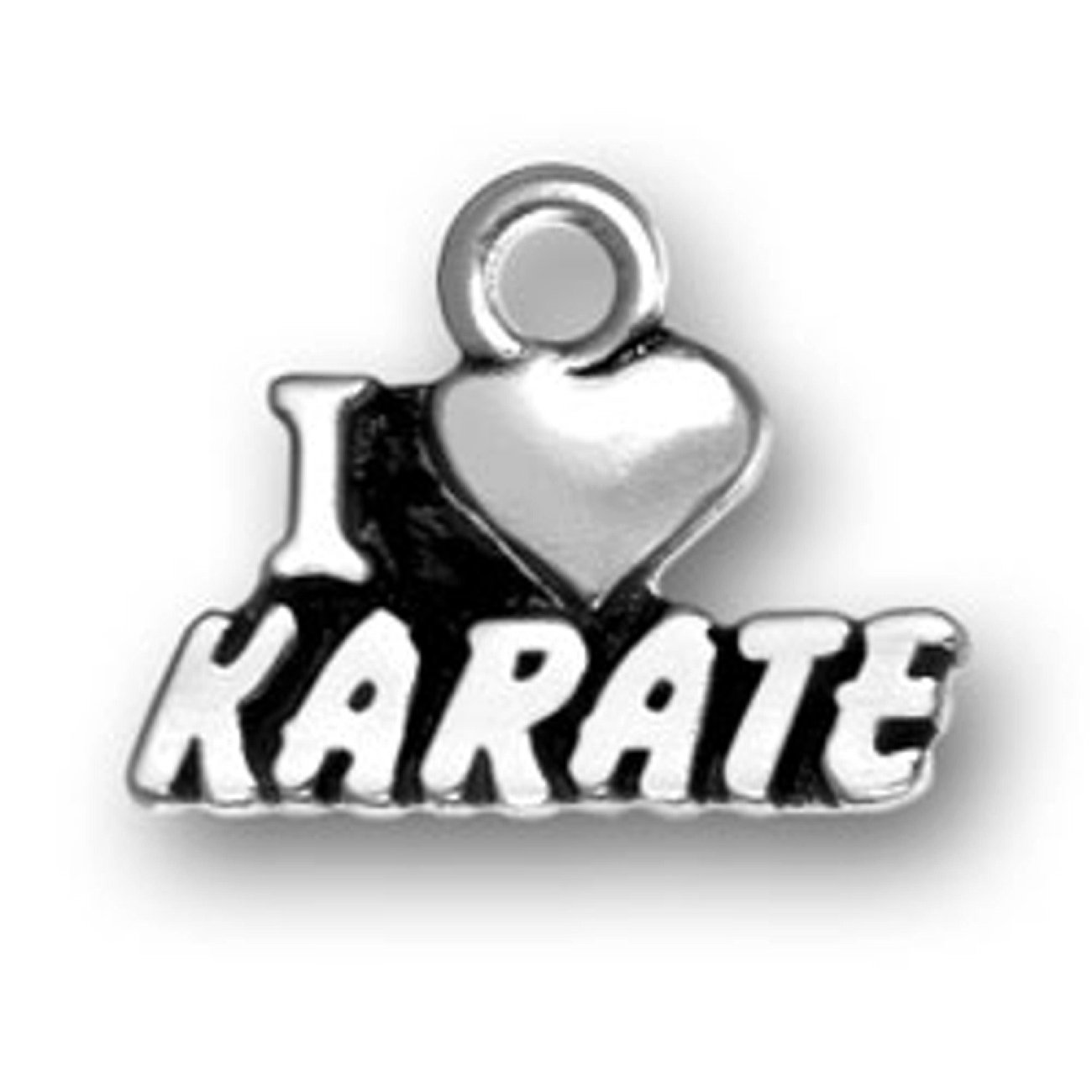 Sterling Silver 7 4.5mm Charm Bracelet With Attached I LOVE KARATE Sports Word Charm