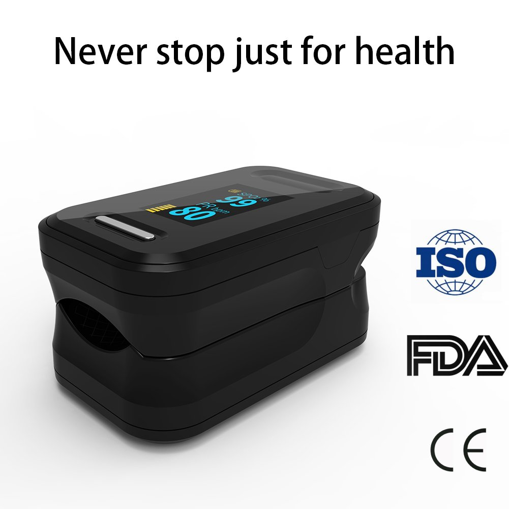 Fingertip Pulse Oximeter Blood Oxygen Saturation Monitor with Carrying Case and Lanyard FDA Approved Yonker YK-81 - Black